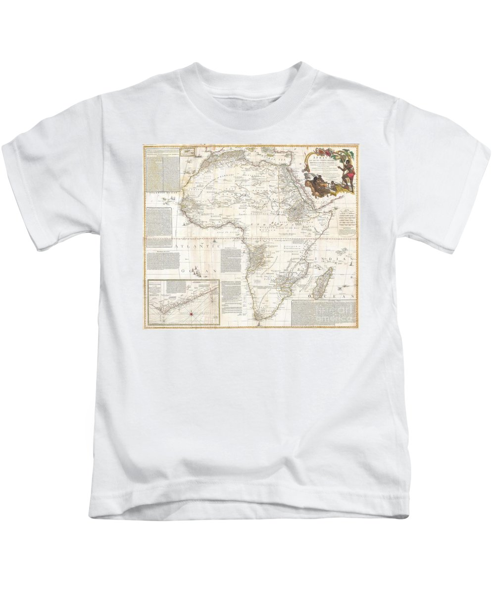 This Is Most Likely The Most Important Map Of Africa Produced In The 18th Century. Printed At The Height Of The Slave Trade In 1787 By The Robert Sayer Firm Of London Kids T-Shirt featuring the photograph 1787 Boulton Sayer Wall Map Of Africa by Paul Fearn