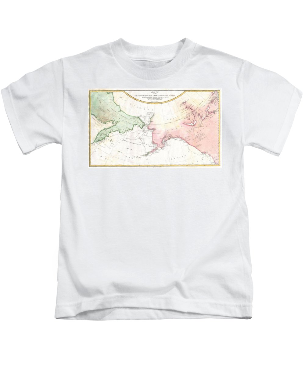 A Rare German Language Variant Of Cook's Map Of His Explorations Along The Northwest Coast Of America And The Northeast Coast Of Asia. Based Upon Original Work By Cook's Cartographer Henry Roberts. Depicts Much Of Siberia And Kamtschaka In Asia And Kids T-Shirt featuring the photograph 1788 Schraembl Map Of The Northwest Passage by Paul Fearn