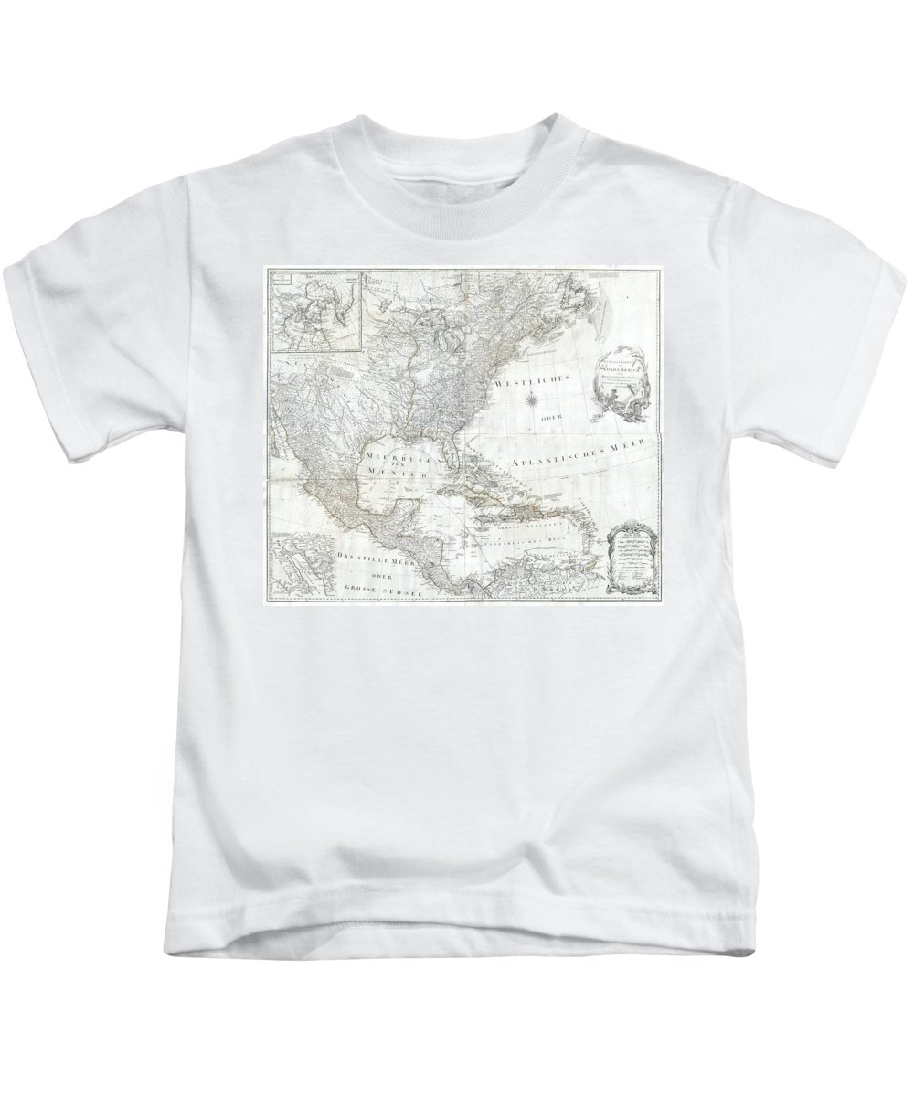 A Rare And Extraordinary Post-colonial Wall Map Of North America By Vienna Map Publisher Franz Anton Schraembal. Printed In 1788 For Inclusion In Schraembal's Allgemeiner Grosser Atlas Kids T-Shirt featuring the photograph 1788 Schraembl Pownall Map Of North America And The West Indies by Paul Fearn