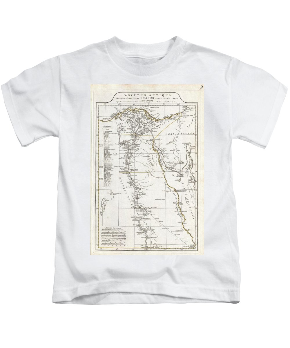 A Large And Dramatic 1794 J. B. B. D'anville Map Of Ancient Egypt Covers From The Nile Delta And Gaza South As Far As Aswan. Details Mountains Kids T-Shirt featuring the photograph 1794 Anville Map Of Ancient Egypt by Paul Fearn