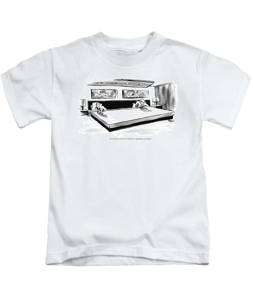 Interiors Consumerism Shopping  (couple In Very Large Bed.) 122252 Llo Lee Lorenz Kids T-Shirt featuring the drawing As I Recall by Lee Lorenz