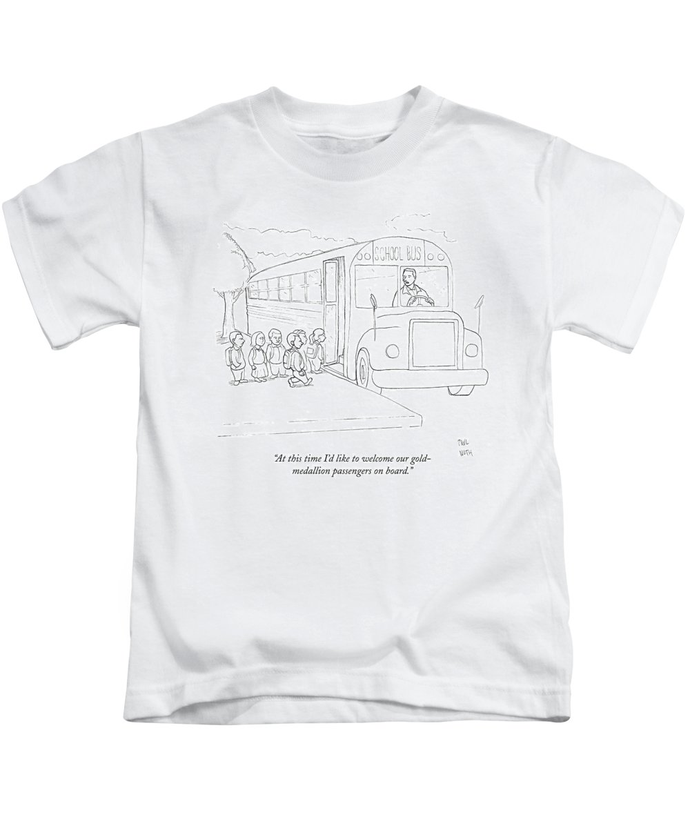 School Bus Kids T-Shirt featuring the drawing At This Time I'd Like To Welcome by Paul Noth
