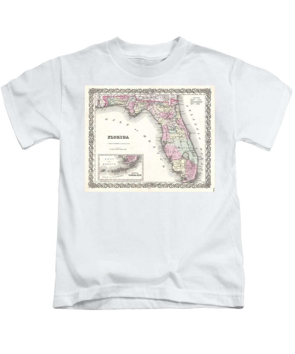 Kids T-Shirt featuring the photograph 1855 Colton Map Of Florida by Paul Fearn