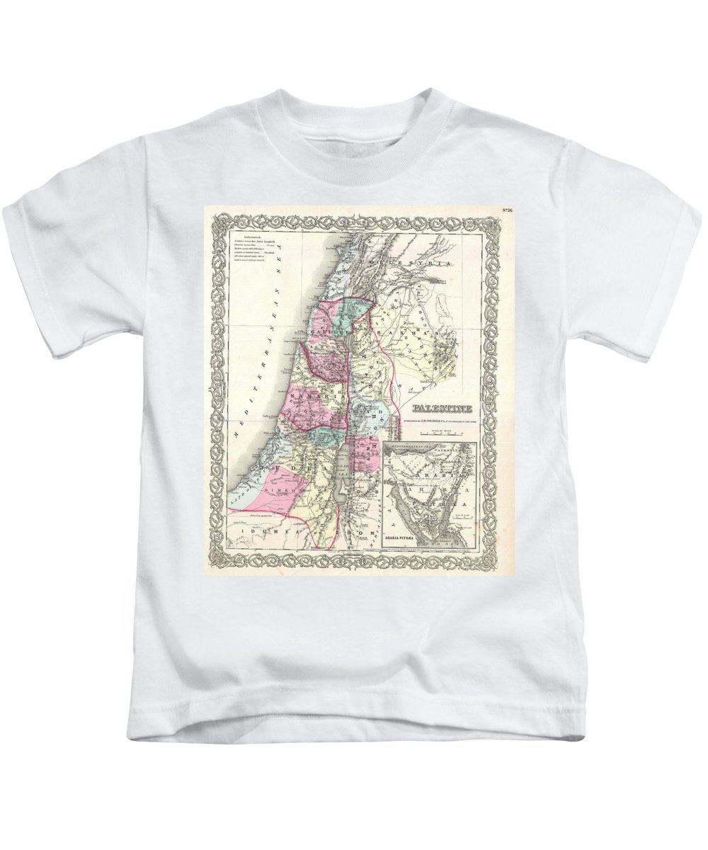 Kids T-Shirt featuring the photograph 1855 Colton Map Of Israel Palestine Or The Holy Land by Paul Fearn