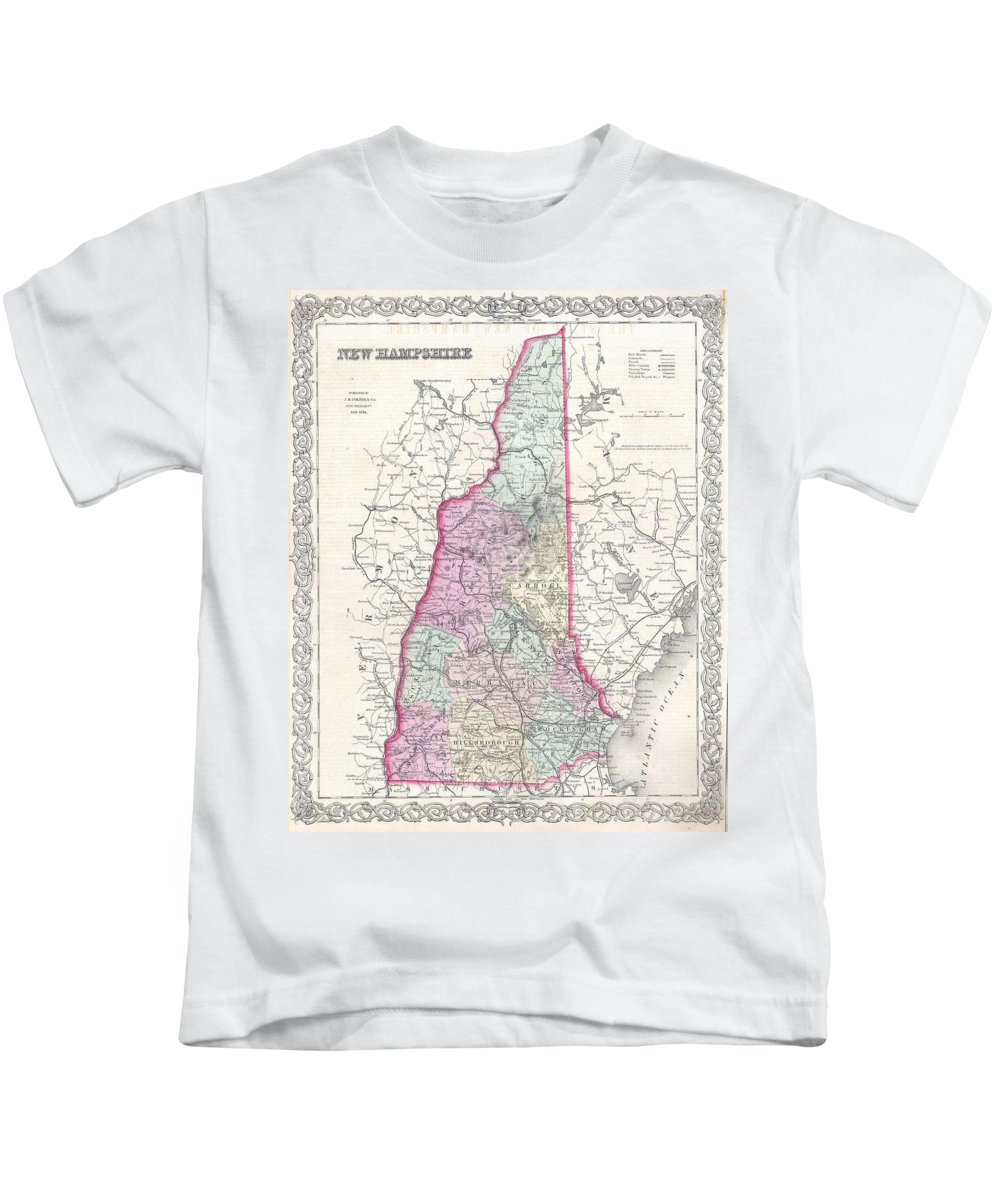 Kids T-Shirt featuring the photograph 1855 Colton Map Of New Hampshire by Paul Fearn