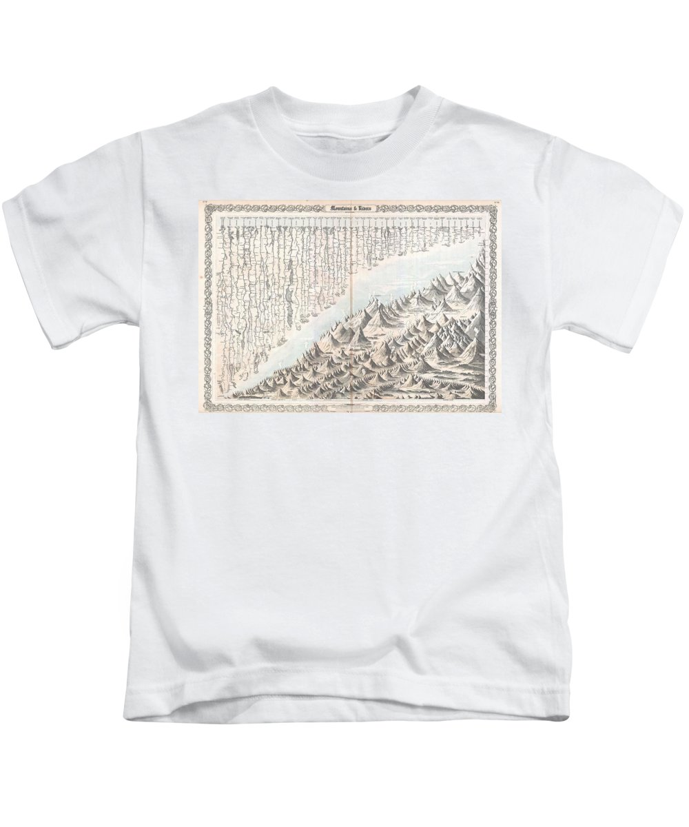 Kids T-Shirt featuring the photograph 1855 Colton Map Or Chart Of The Worlds Mountains And Rivers by Paul Fearn