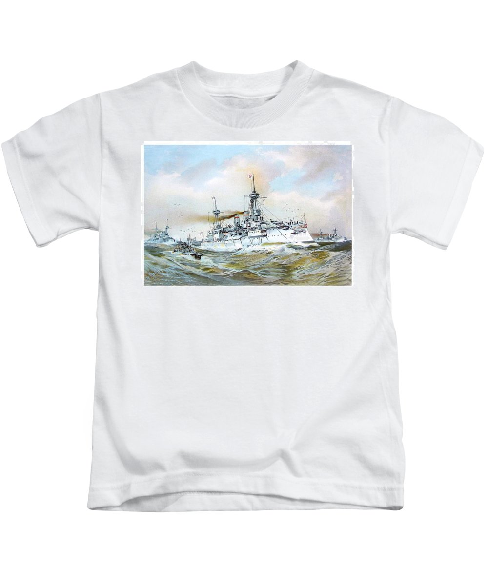 1895 Kids T-Shirt featuring the digital art 1895 - The Brandenburg Squadron At Sea - Color by John Madison