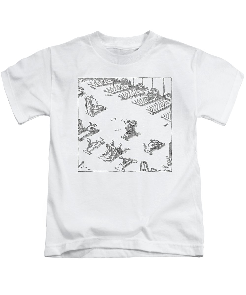 Fitness Olden Days Media  (boy Throwing Newspapers From A Stationary Bike In A Gym.) 121547 Job John O'brien Kids T-Shirt featuring the drawing New Yorker November 7th, 2005 by John O'Brien