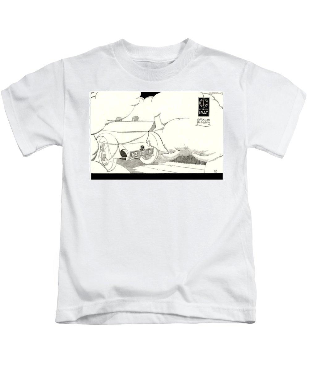1924 Kids T-Shirt featuring the digital art 1924 - Georges Irat La Voiture D'elite French Automobile Advertisement by John Madison