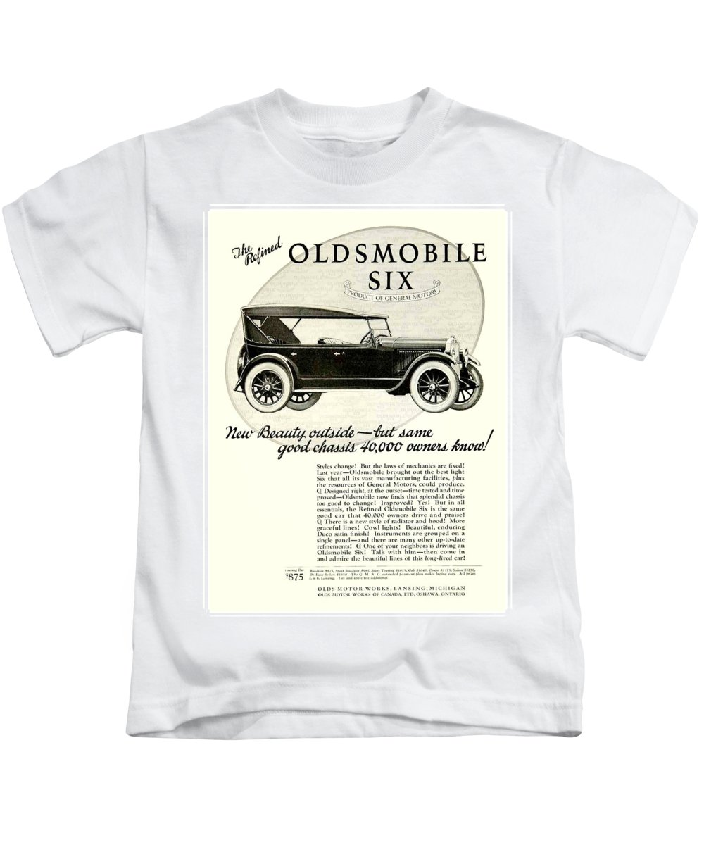 1924 Kids T-Shirt featuring the digital art 1924 - Oldsmobile Six Automobile Advertisement by John Madison