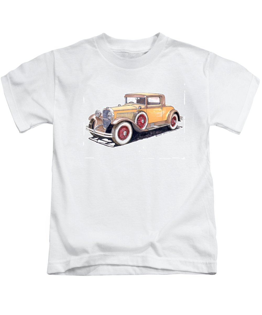 Framed Art Of The 1949 To 1961 Studebakers Kids T-Shirt featuring the painting 1929 Nash Advanced 6 Sport by Jack Pumphrey