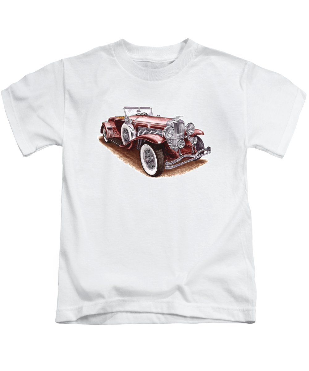 An Art Print Using Colored Pencils Of A 1930 Duesenberh Model J Roadster Coupe Kids T-Shirt featuring the mixed media 1930 Dusenberg Model J by Jack Pumphrey