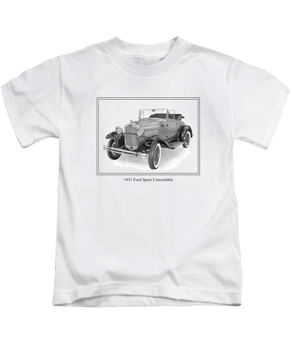 Framed Pen And Ink Images Of Classic Ford Cars. Pen And Ink Drawings Of Vintage Classic Cars. Black And White Drawings Of Cars From The 1930�s Kids T-Shirt featuring the drawing 1931 Ford Convertible by Jack Pumphrey
