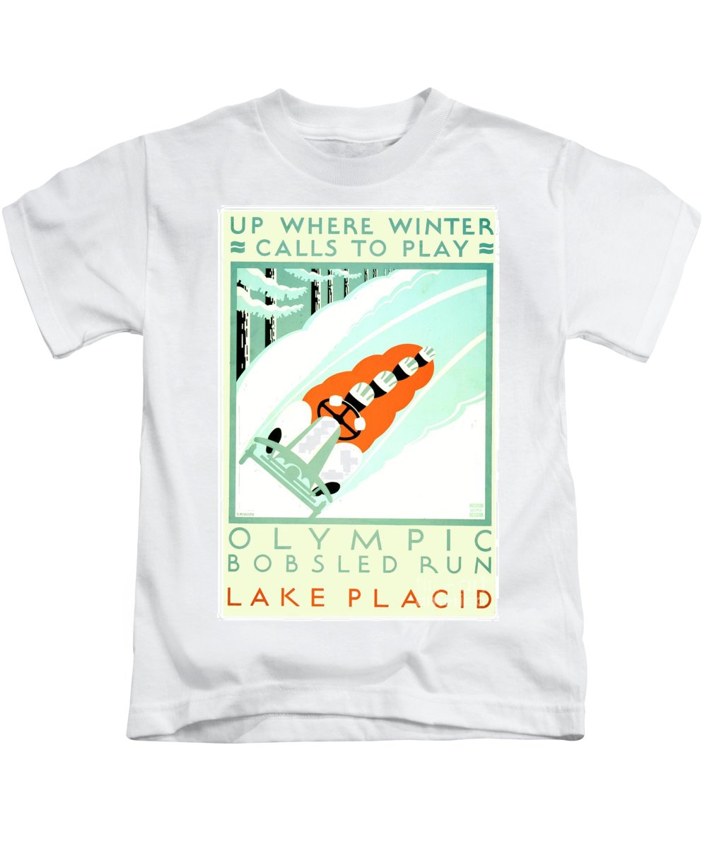 19351925 Kids T-Shirt featuring the digital art 1935 - Lake Placid - New York - Travel Poster - Color by John Madison