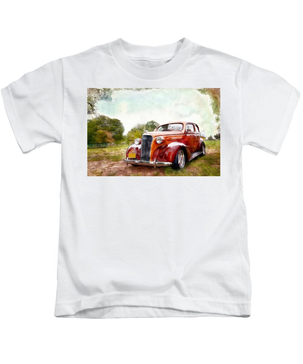 1937 Chrysler Kids T-Shirt featuring the painting 1937 Chrysler by L Wright