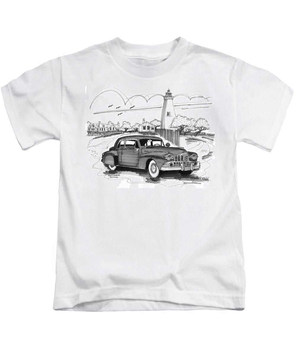 1948 Lincoln Continental Kids T-Shirt featuring the drawing 1948 Lincoln Continental by Richard Wambach