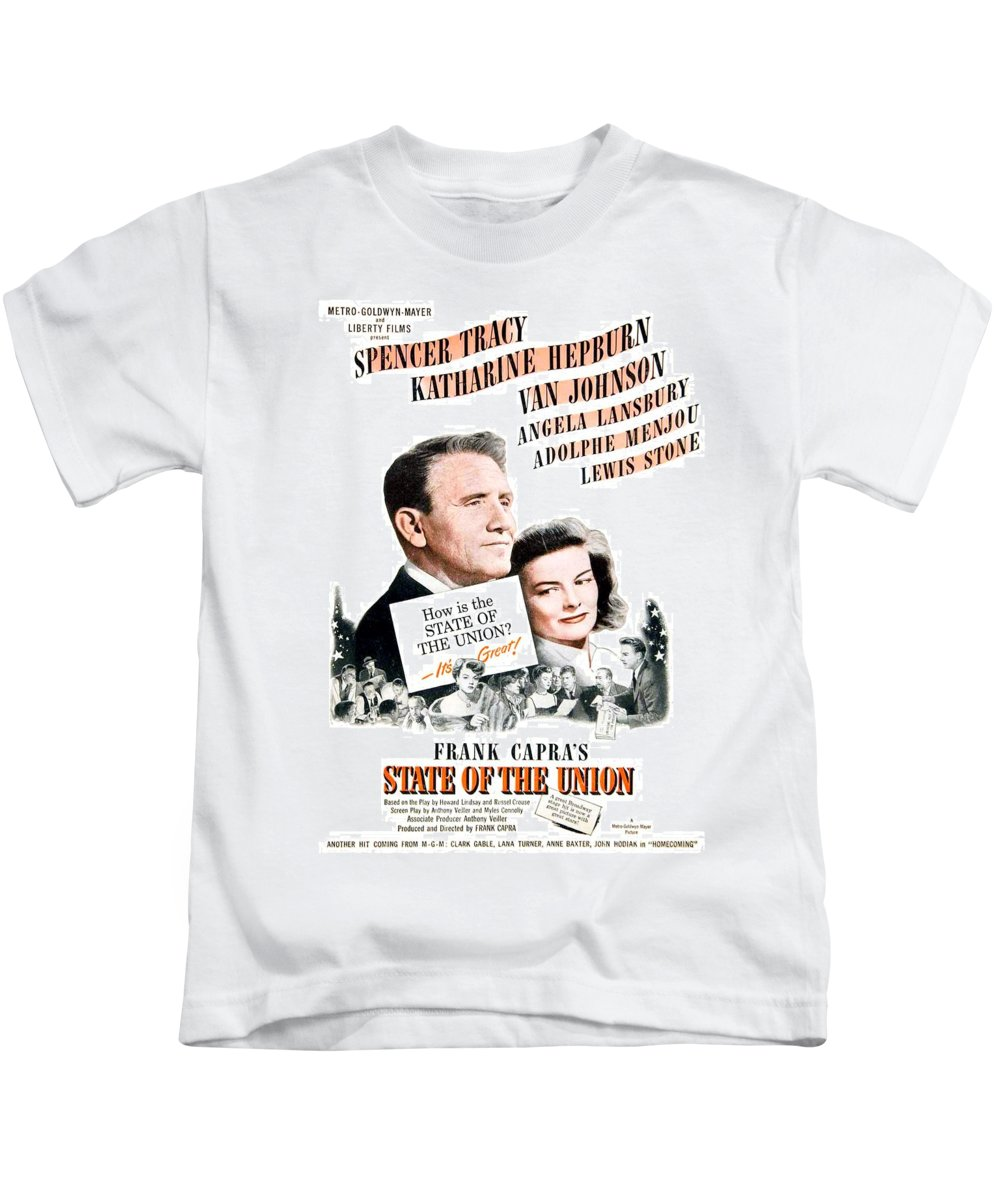 1948 Kids T-Shirt featuring the digital art 1948 - State Of The Union Motion Picture Poster - Spencer Tracy - Katherine Hepburn - Mgm - Color by John Madison