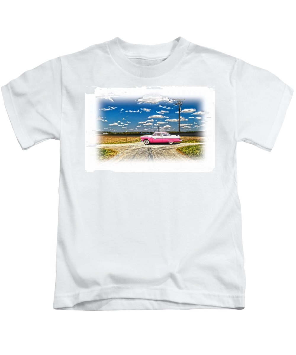 1955 Ford Kids T-Shirt featuring the photograph 1955 Ford Crown Victoria Crossroads In Life by Randall Branham