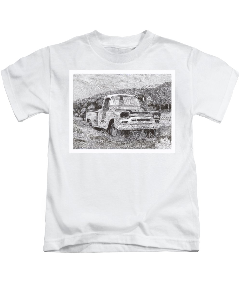 Classic 1957 Gmc Pick Up That's Seen Better Days Kids T-Shirt featuring the drawing Ran When Parked by Jack Pumphrey