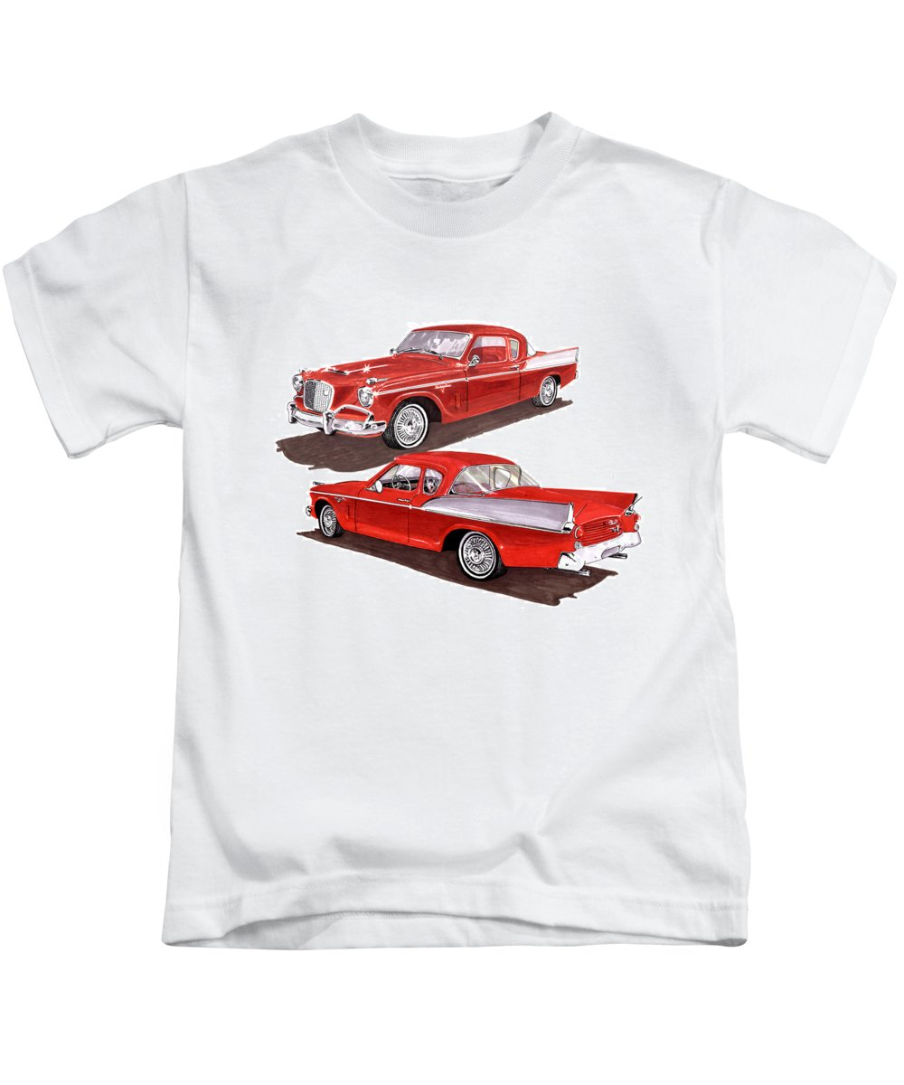 Thank You For Buying A Greeting Card Of 1957 Studebaker Silver Hawk To A Buyer From Jeffersonville Kids T-Shirt featuring the painting 1957 Studebaker Silver Hawk by Jack Pumphrey