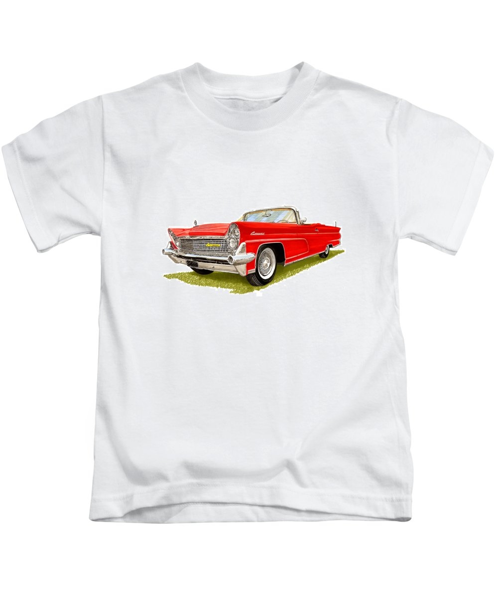 Classic Car Art Kids T-Shirt featuring the painting 1959 Continental Convertible by Jack Pumphrey