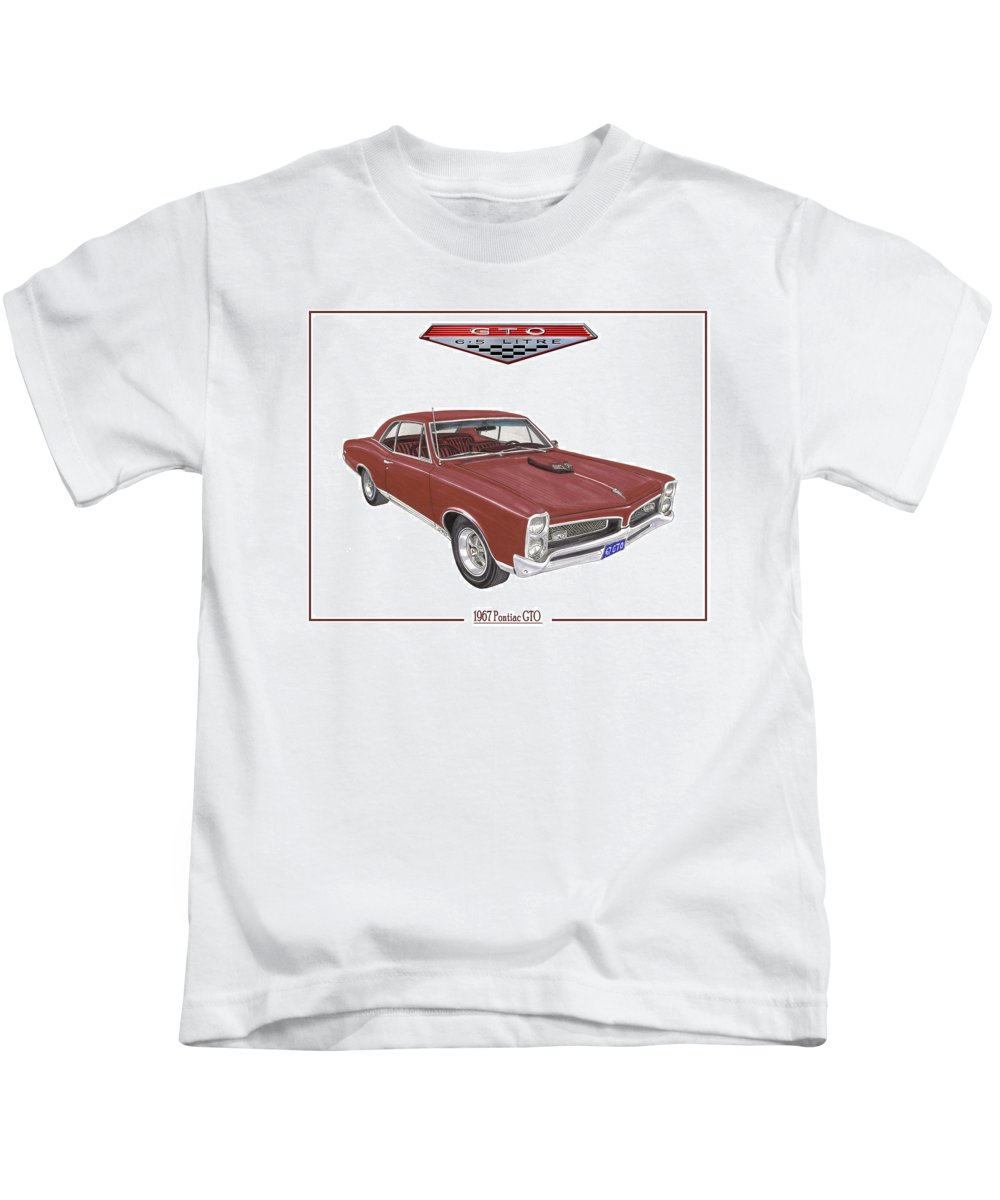 1967 Pontiac Gto Kids T-Shirt featuring the painting 1967 G T O Pontiac by Jack Pumphrey