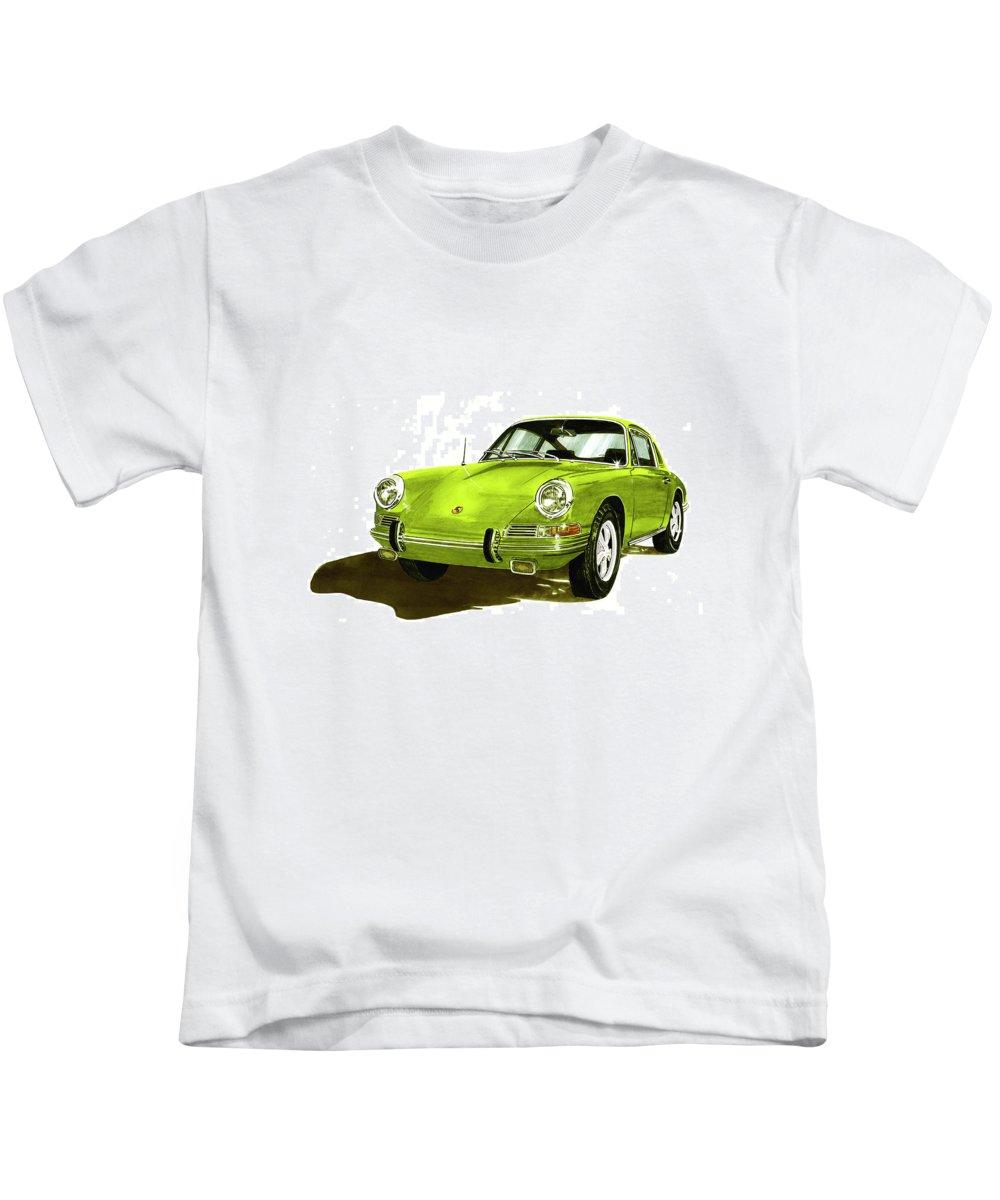 Watercolor Painting Of 1967 Porsche 911 Sportscar Kids T-Shirt featuring the painting 1967 Porsche 911 by Jack Pumphrey