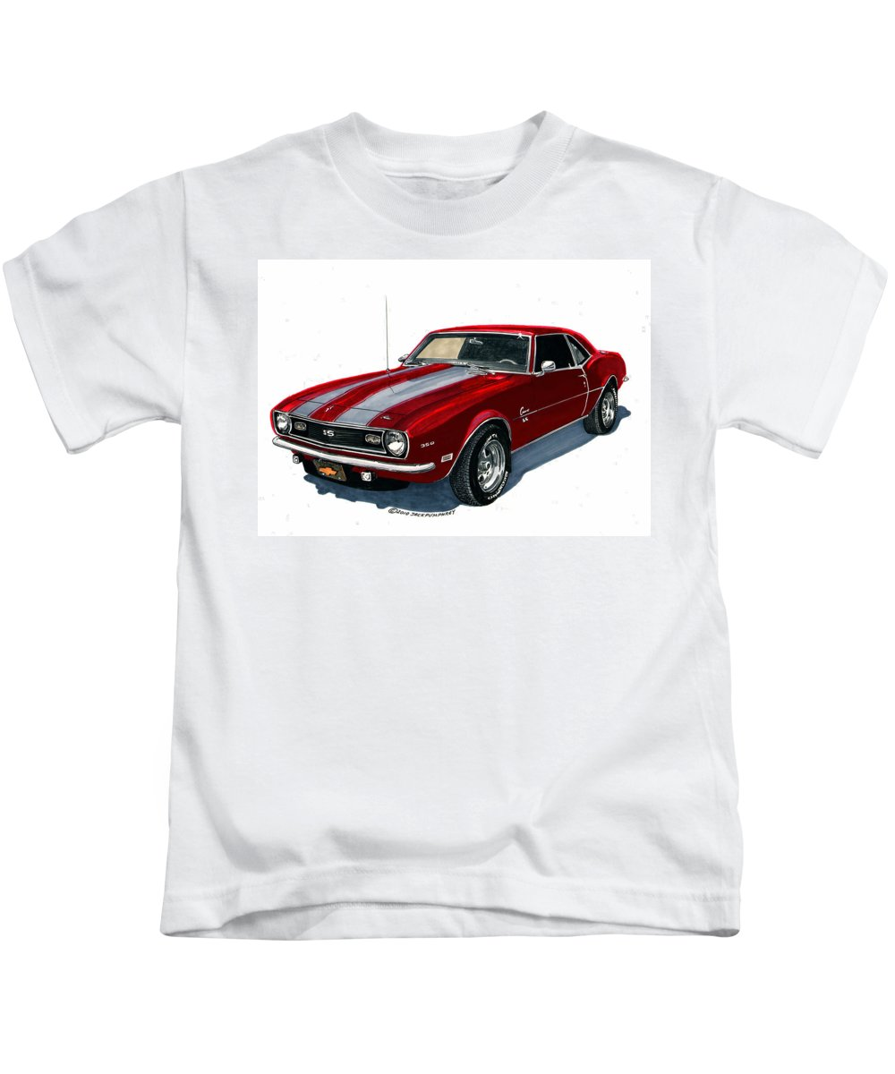 1968 Kids T-Shirt featuring the painting 1968 Camaro Ss 350 by Jack Pumphrey