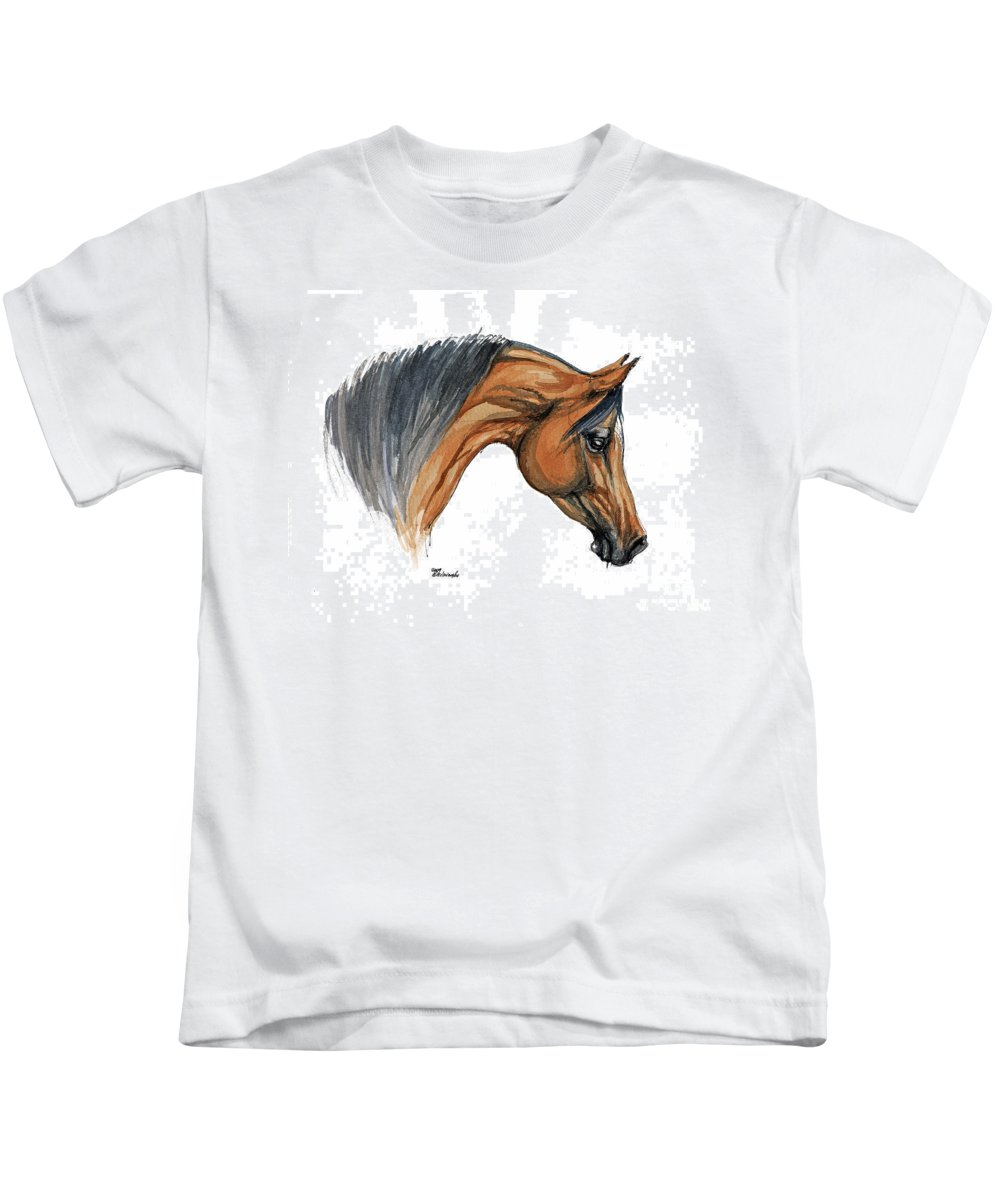 Horse Kids T-Shirt featuring the painting Bay Arabian Horse Watercolor Painting by Angel Ciesniarska