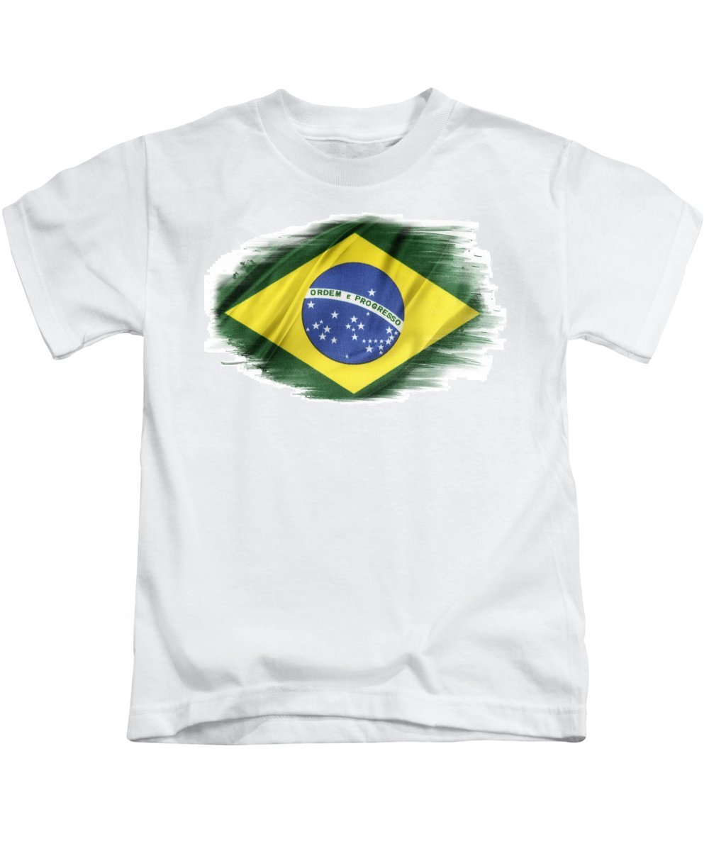 Brazil Kids T-Shirt featuring the photograph Brazilian Flag by Les Cunliffe