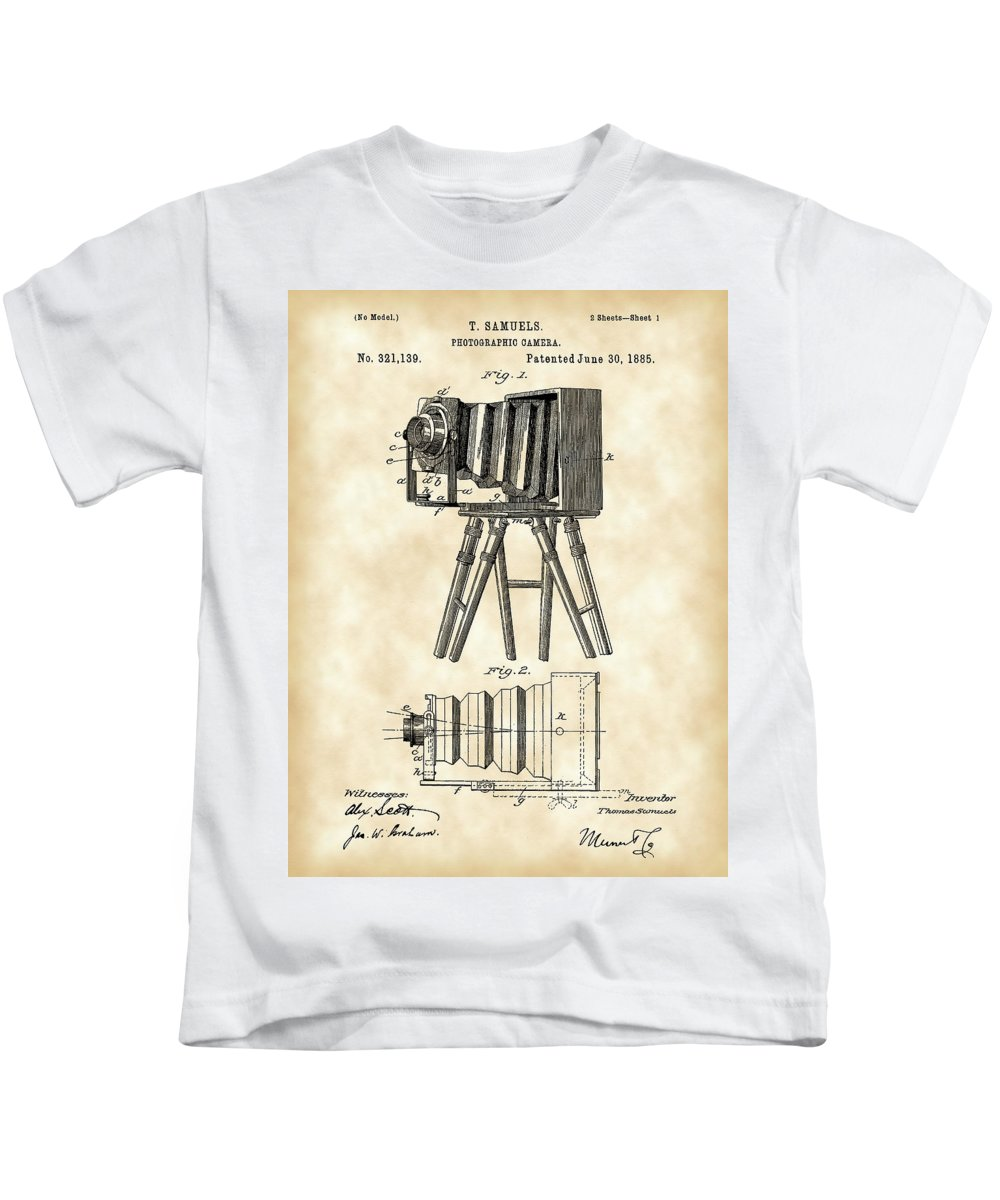 Camera Kids T-Shirt featuring the digital art Camera Patent 1885 - Vintage by Stephen Younts