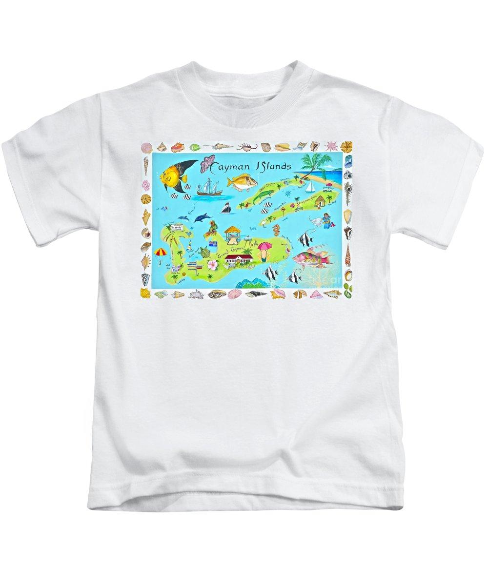 Cayman Islands Kids T-Shirt featuring the painting Cayman Islands by Virginia Ann Hemingson