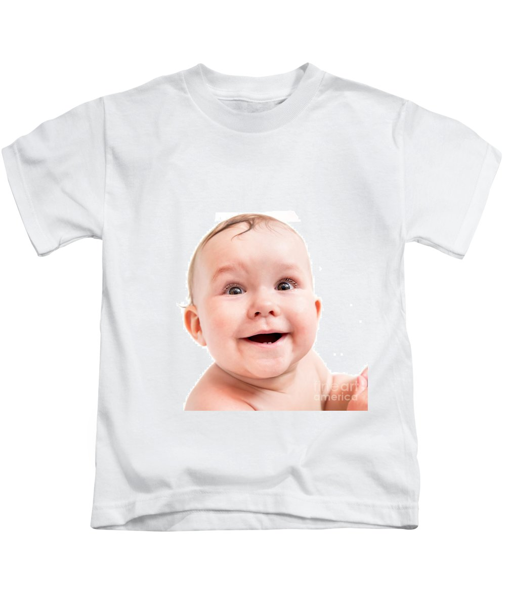 Baby Kids T-Shirt featuring the photograph Cute Happy Baby Laughing On White by Michal Bednarek