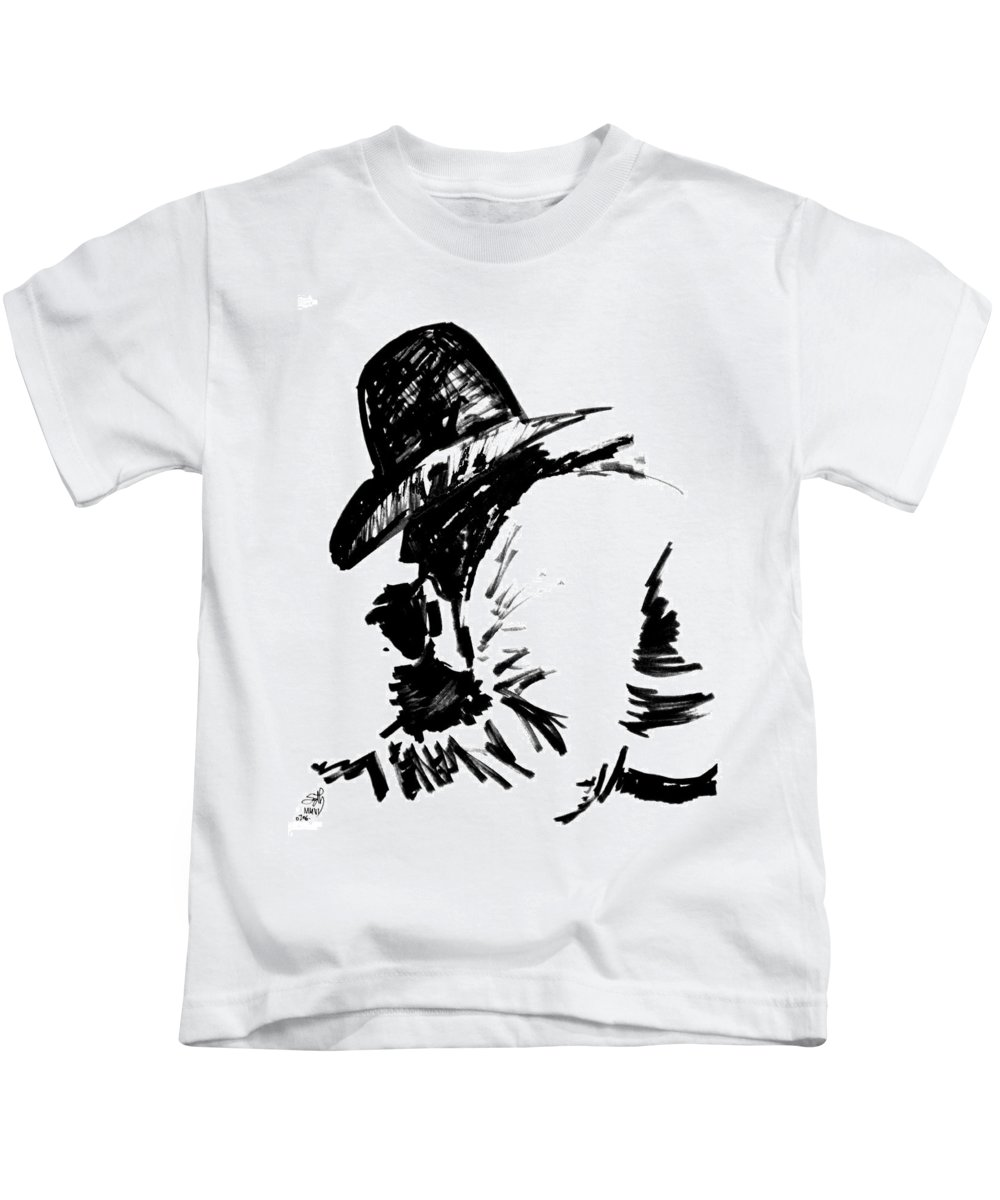 Exhausted Cowboy Kids T-Shirt featuring the drawing Exhausted Cowboy by Seth Weaver