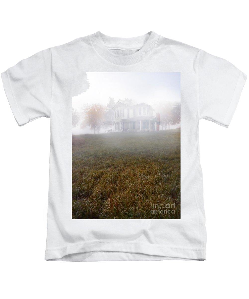 House Kids T-Shirt featuring the photograph House In Fog by Jill Battaglia