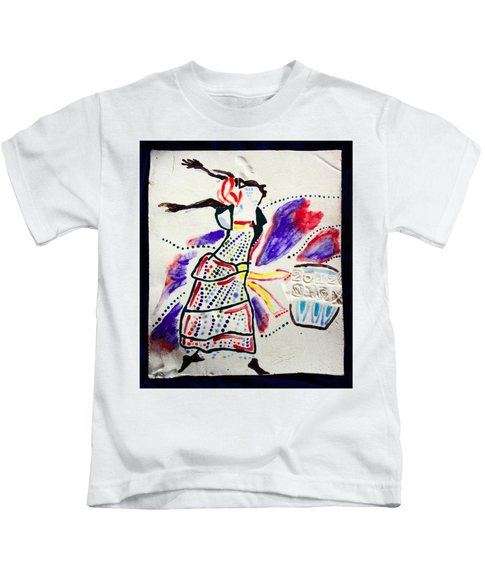 Jesus Kids T-Shirt featuring the ceramic art Kiganda Dance - Uganda by Gloria Ssali