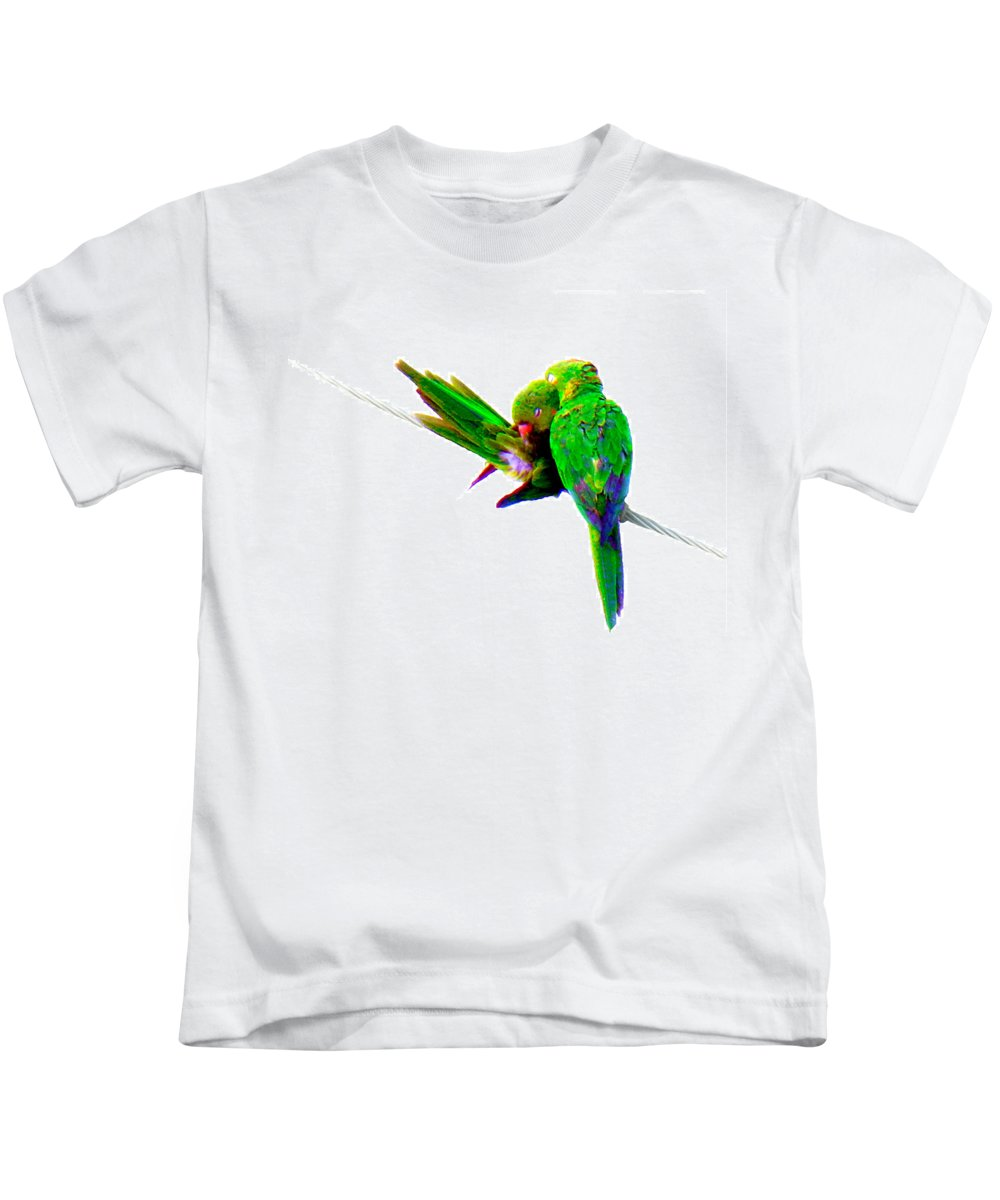 Parrot Kids T-Shirt featuring the photograph Love Birds by J Anthony