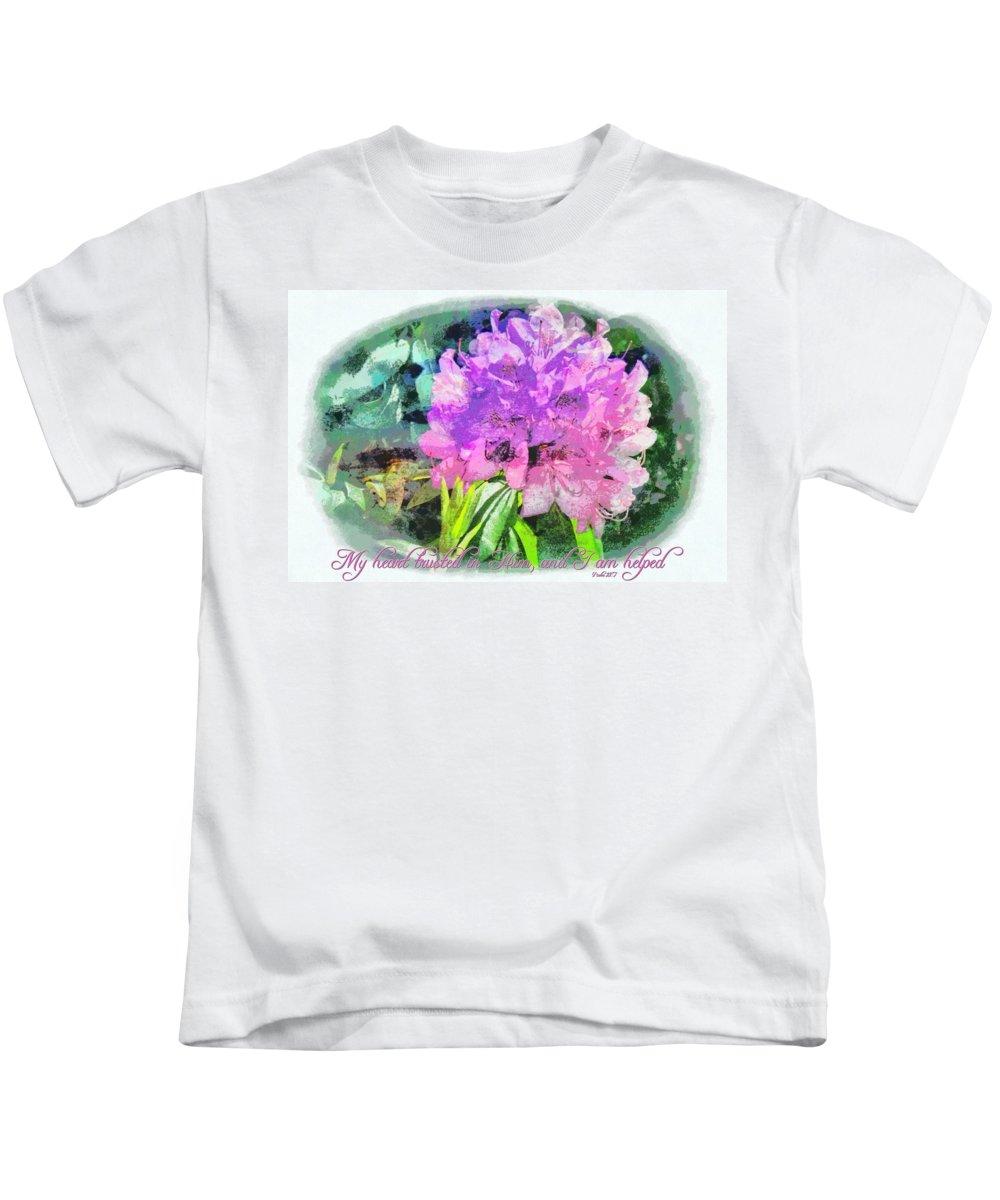 Jesus Kids T-Shirt featuring the digital art Psalm 28 7 by Michelle Greene Wheeler