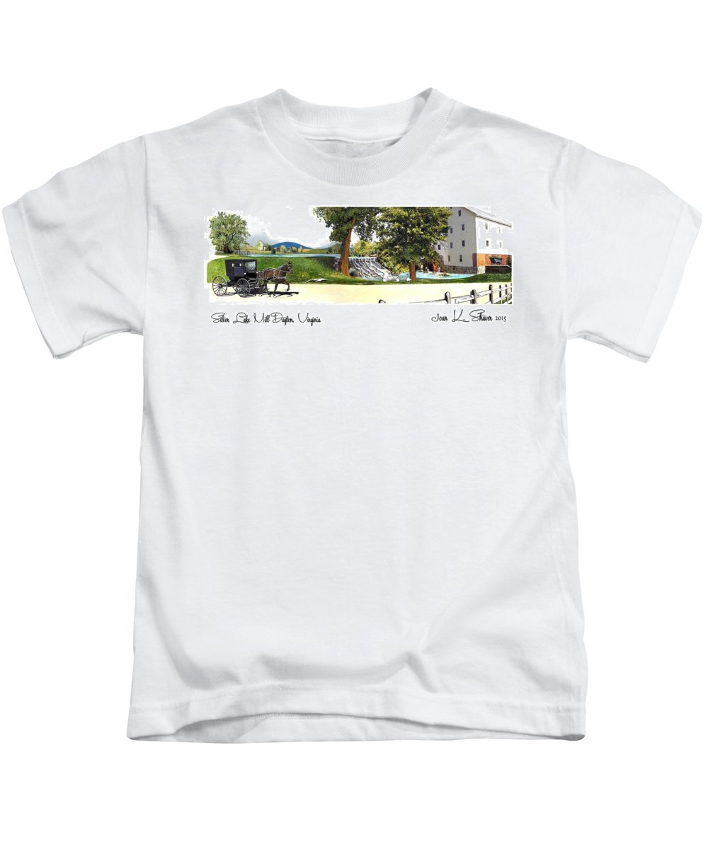 Historic Silver Lake Mill Kids T-Shirt featuring the painting Silver Lake Mill -summer by Joan Shaver
