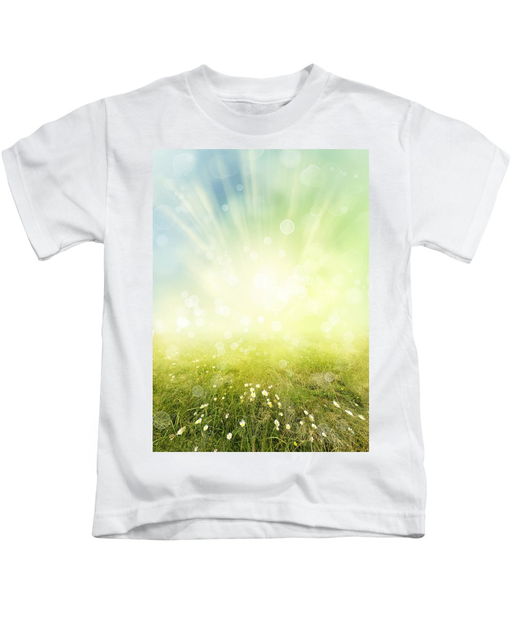Abstract Kids T-Shirt featuring the photograph Spring by Les Cunliffe