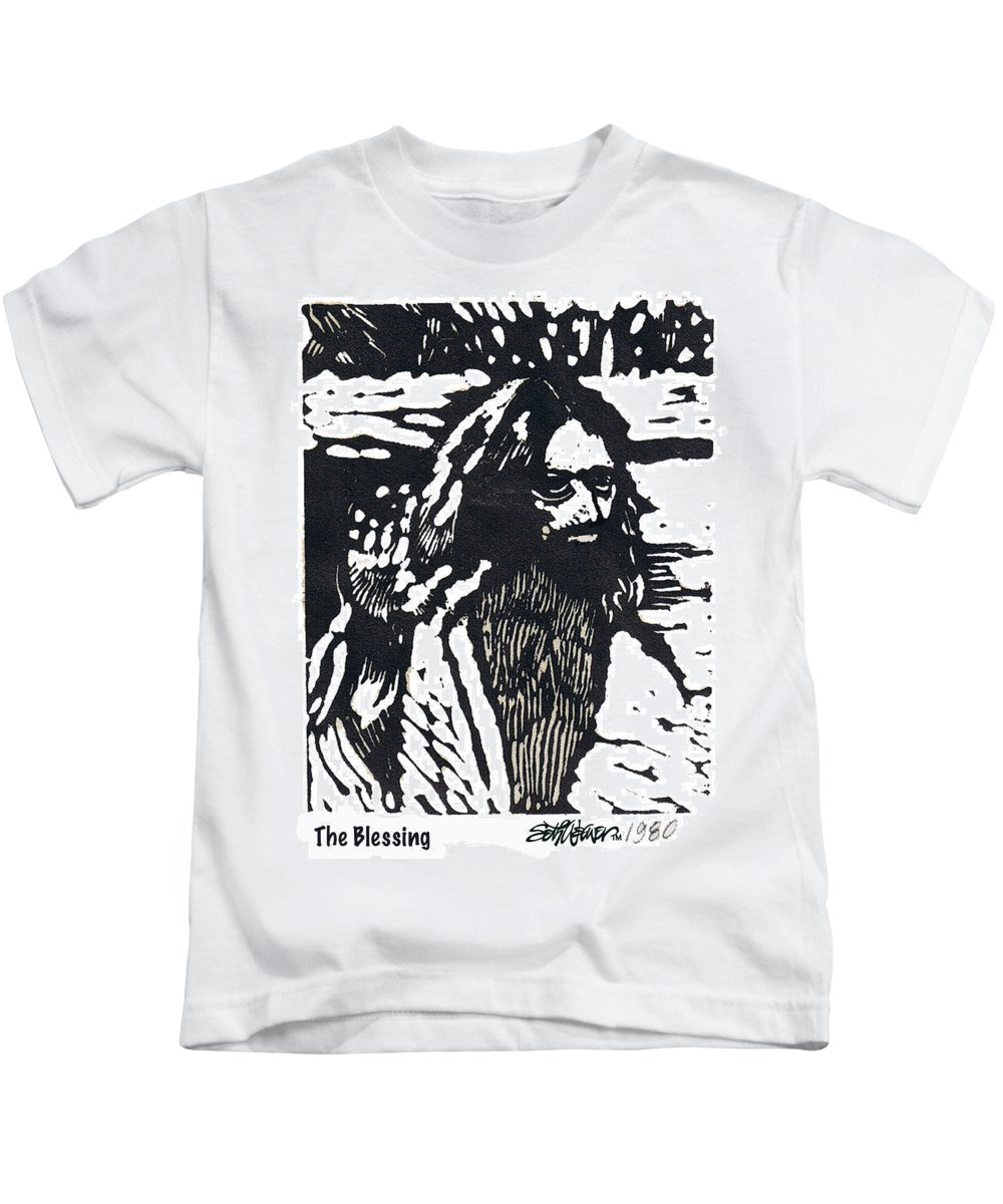 Jesus Christ Kids T-Shirt featuring the mixed media The Blessing by Seth Weaver