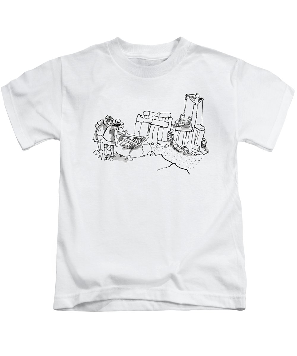 Stonehenge Kids T-Shirt featuring the drawing New Yorker February 23rd, 2009 by Sidney Harris
