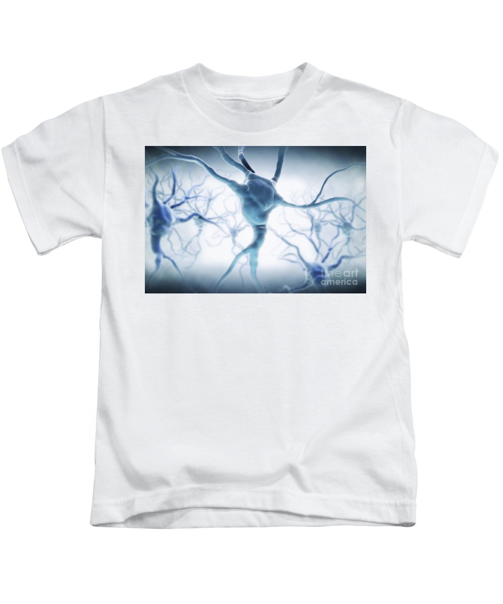 Digitally Generated Image Kids T-Shirt featuring the photograph Neurons by Science Picture Co