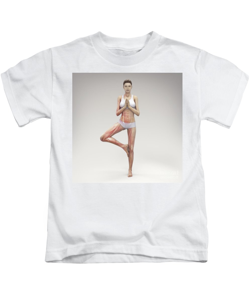3d Visualisation Kids T-Shirt featuring the photograph Yoga Tree Pose by Science Picture Co