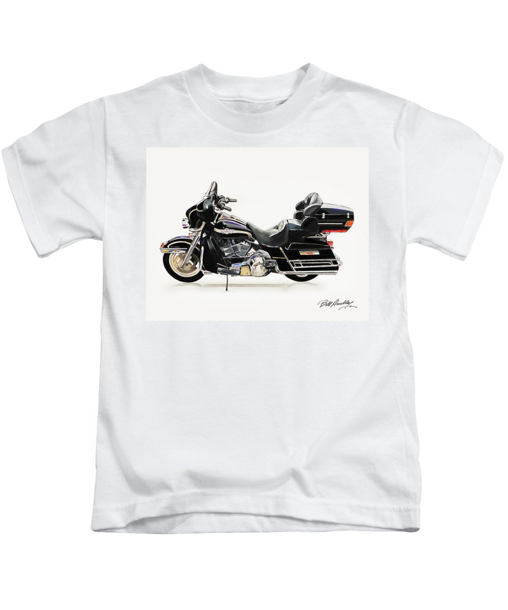 Harley Davidson Motorcycle Kids T-Shirt featuring the painting 2003 Harley Davidson by Bill Dunkley