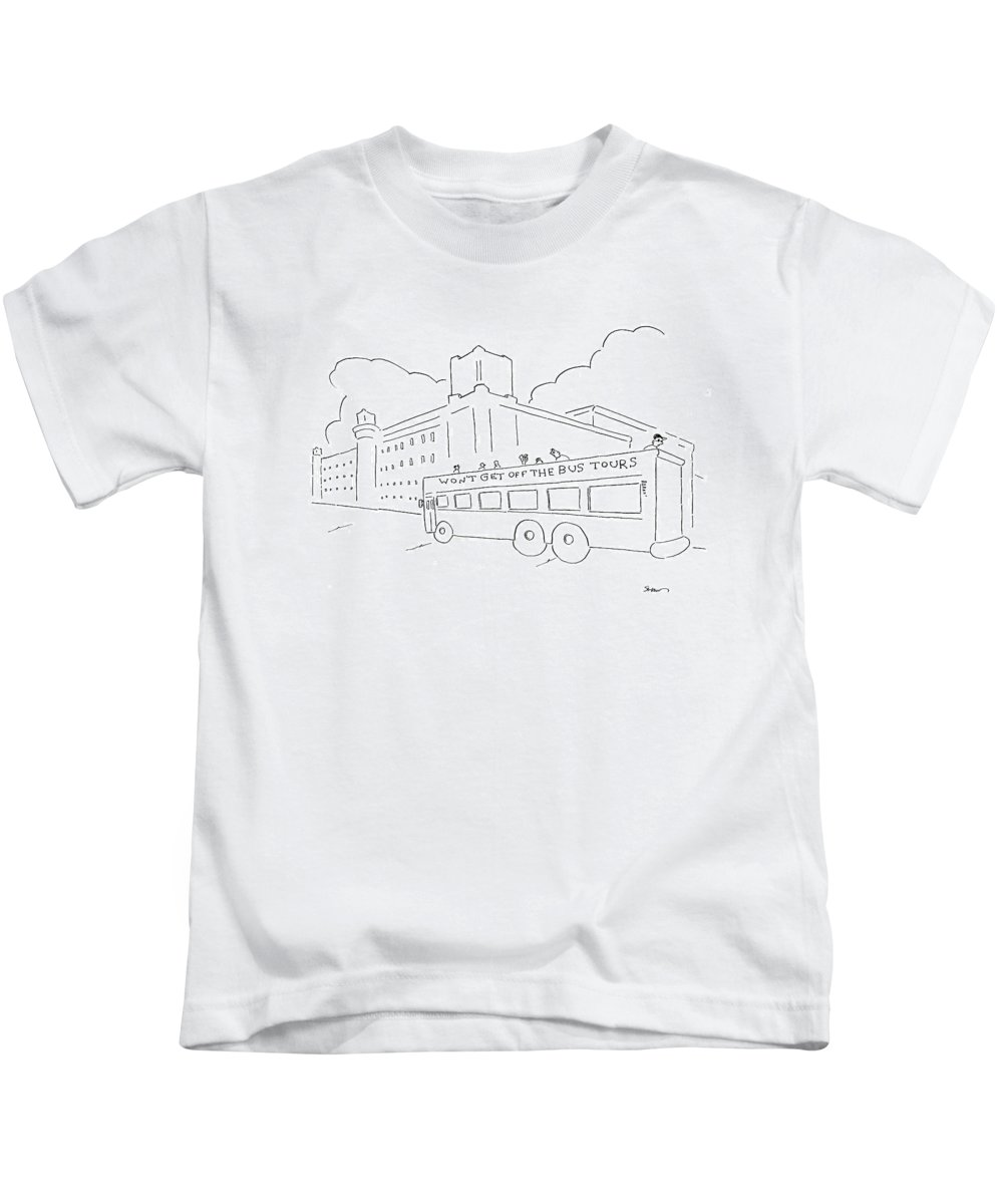 Bus Kids T-Shirt featuring the drawing New Yorker January 28th, 2008 by Michael Shaw