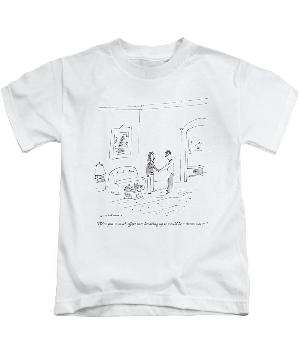 Couple Kids T-Shirt featuring the drawing We've Put So Much Effort Into Breaking by Michael Maslin