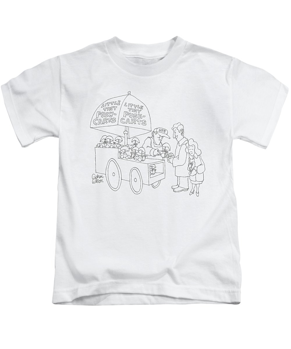 Vendor Kids T-Shirt featuring the drawing New Yorker April 23rd, 2007 by Gahan Wilson