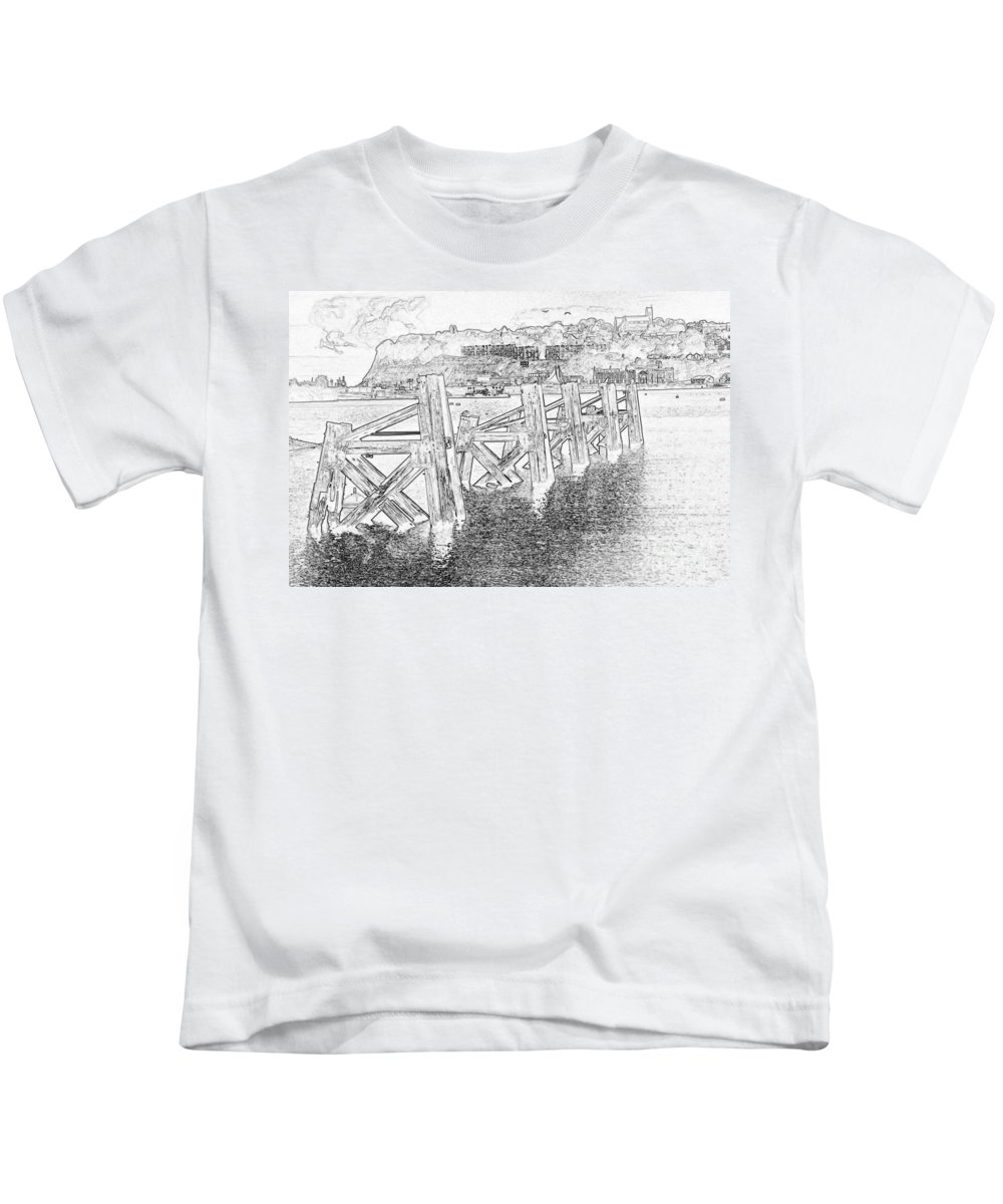Cardiff Bay Kids T-Shirt featuring the photograph Cardiff Bay by Steve Purnell