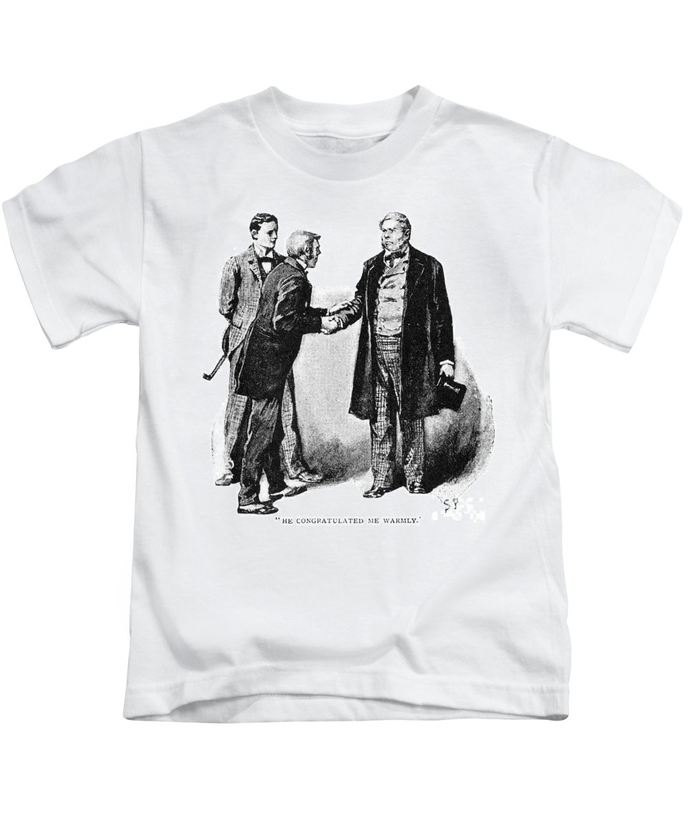 1891 Kids T-Shirt featuring the photograph Doyle: Sherlock Holmes by Granger